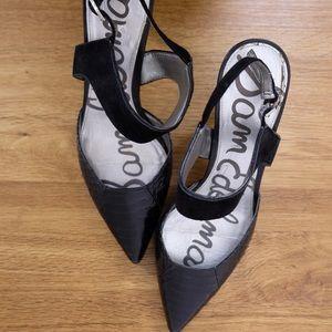 Sam Edelman Snakeskin Heels in Black